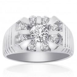 1.64 Carat Round Cut Channel Setting Diamonds Mens Ring 14K White Gold