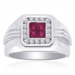 0.65 Carat Round Cut Diamonds and Princess Cut Rubies Mens Ring 14K White Gold