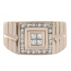 0.50 Carat Round Princess Cut Channel Setting Diamonds Mens Ring 14K Rose Gold