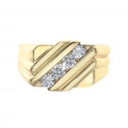 0.60 Carat Round Cut Diamond Channel Setting Mens Ring 14K Yellow Gold