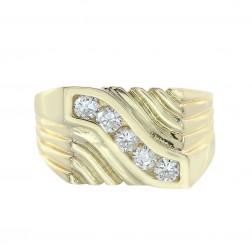 0.65 Carat Round Cut Diamonds Men's Ring 14K Yellow Gold