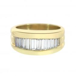 2.50 Carat Baguette Cut Channel Setting Diamonds Mens Ring 18K Yellow Gold