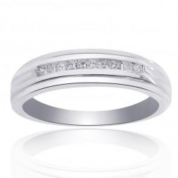 0.25 Carat Diamond Men's Wedding Band 14K White Gold Ring