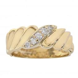 0.15 Carat Diamond Men's Wedding Band 14K Yellow Gold Ring