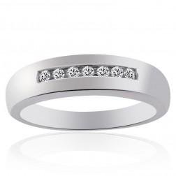 0.20 Carat Mens Round Cut Diamond Wedding Band 14K White Gold
