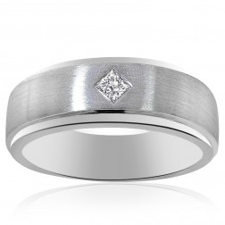0.15 Carat Mens Princess Cut Diamond Wedding Band 14K White Gold