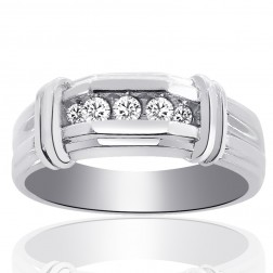 0.25 Carat Mens Round Cut Diamond Wedding Band 14K White Gold