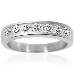 1.00 Carat Mens Round Cut Diamond Wedding Band 14K White Gold