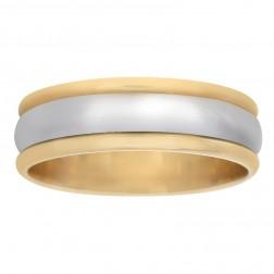 7.3mm 14K Two Tone Gold Milgrain Men's Wedding Band