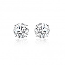 3.54 Carat Brilliant Round Cut Diamond Stud Earrings 14K White Gold