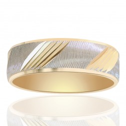 6.0mm 14k Two Tone Gold Comfort Fit Embossed Band