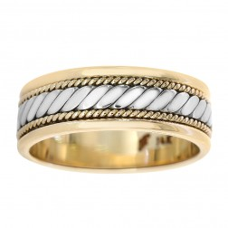7.0mm 14k Two Tone Gold Comfort Fit Men's Wedding Band