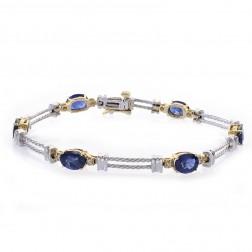 6.00 Carat Sapphire and 0.08 Carat Diamond Accent 14k Two Tone Gold Link Bracelet