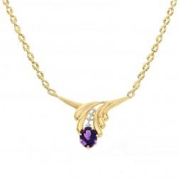 0.07 Carat Diamond and 3.00 Carat Amethyst Leaf 14K Yellow Gold Necklace