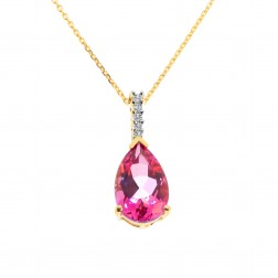 0.07 Carat Diamond Necklace with Pink Topaz Drop Pendant 14K Yellow Gold