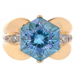 5.50 Carat Blue Topaz Hexagon and Round Cut Diamond Ring 14K Yellow Gold
