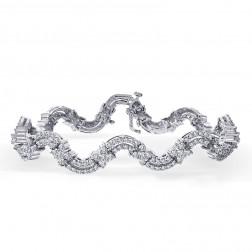 4.25 Carat H-SI1 Round Brilliant Diamond Fancy Tennis Bracelet 14K White Gold