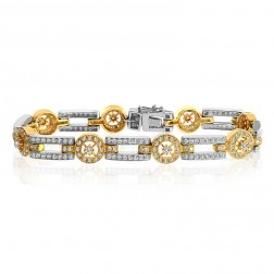 3.00 Carat G-VS2 Natural Round Brilliant Cut Diamond Bracelet 18K Two Tone Gold