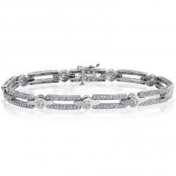 2.50 Carat G-SI1 Natural Round Brilliant Cut Diamond Bracelet 14K White Gold