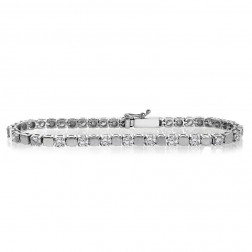 4.00 Carat H-VS2 Round Brilliant Cut Diamond Tennis Bracelet 14K White Gold