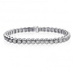 9.00 Carat G-VS2 Round Cut Diamond Half Bezel Tennis Bracelet 14K White Gold
