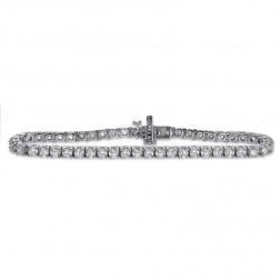 5.00 Carat G-SI1 Round Cut Diamond Four Prong Tennis Bracelet 14K White Gold
