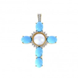 Turquoise and Mabe Pearl Diamond Cross Pendant