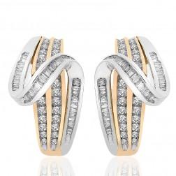 1.50 Carat Diamond Accent Twist J-Hoop Earrings 10K Two Tone Gold