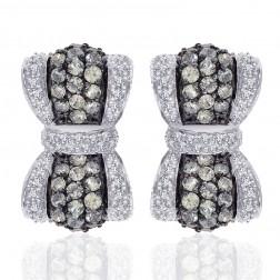 1.50 Carat Amethyst and 1.00 Carat Diamond Bow Hoop Earrings 14k White Gold