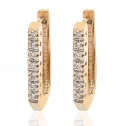 0.20 Carat Small Square Hoop Earrings 14K Yellow Gold