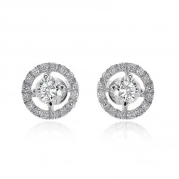 1.20 Round Cut Diamond Halo Stud Earrings 18K White Gold