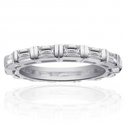 Ladies Baguette Cut Diamond Wedding Eternity Band in Platinum (1.00ctw)