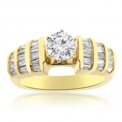 1.00 Carat I1-J Natural Round Cut Diamond Engagement Ring 14K Yellow Gold