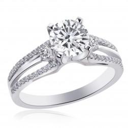 1.50 Carat F-VS2 Natural Round Diamond Split Shank Engagement Ring 18K