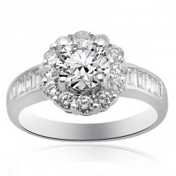 1.97 Carat H-VS2 Natural Round Cut Diamond Halo Engagement Ring 18K White Gold