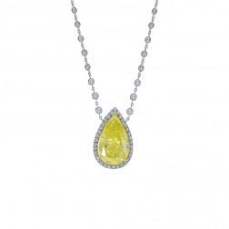 Platinum 12.17 Carat Certified Yellow Diamond Necklace
