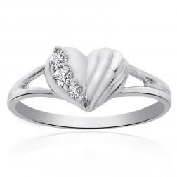 0.10 Carat Round Cut Diamond Heart Ring 14K White Gold