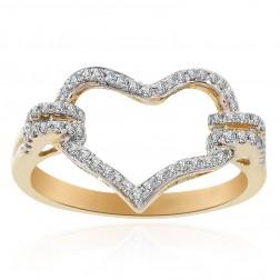 0.30 Carat Round Cut Diamond Heart Ring 14K Yellow Gold