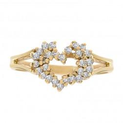 0.25 Carat Round Cut Diamond Heart Cluster Ring 14K Yellow Gold