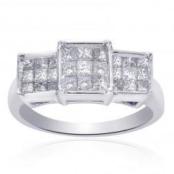 0.75 Carat Princess Cut Invisible Setting Ring 14K White Gold