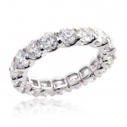 14K White Gold 3.85 tcw Round Brilliant Cut Diamond Eternity Wedding Band