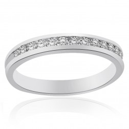 Platinum Channel Set Round Brilliant Cut Diamond Wedding Band 0.37 tcw