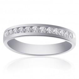 0.60 Carat Round Cut Brilliant Diamond Wedding Band 14K White Gold