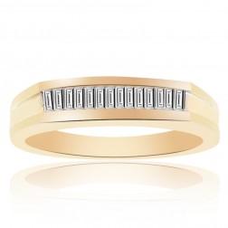 0.40 Carat Princess Cut Brilliant Diamond Wedding Band 14K Yellow Gold
