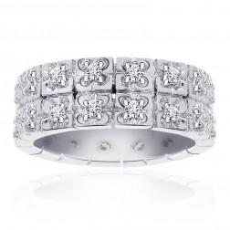 0.50 Carat Diamond Two Row Wedding Band 14K White Gold Ring