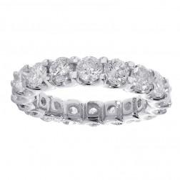 3.75 carat Round Cut Diamond Eternity Band 14k White Gold
