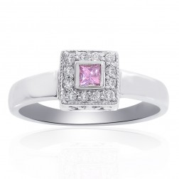 0.15 Carat Princess Cut Diamond with Pink Sapphire Ring 14K White Gold