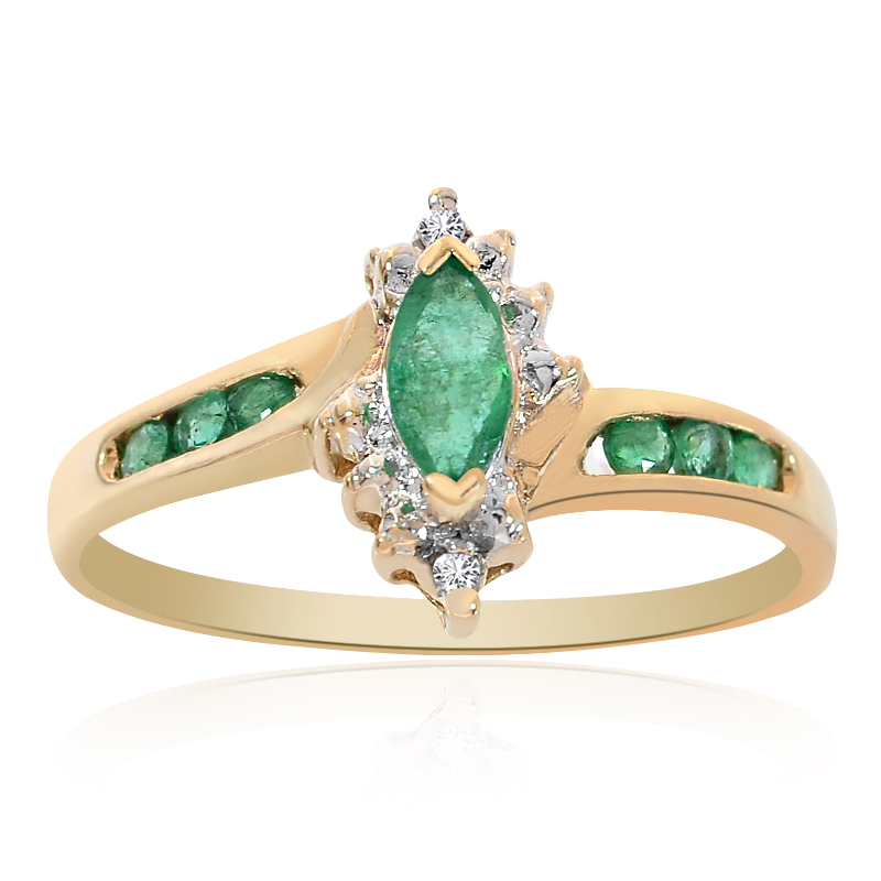 0 30 carat emerald and cut marquise ring 14k