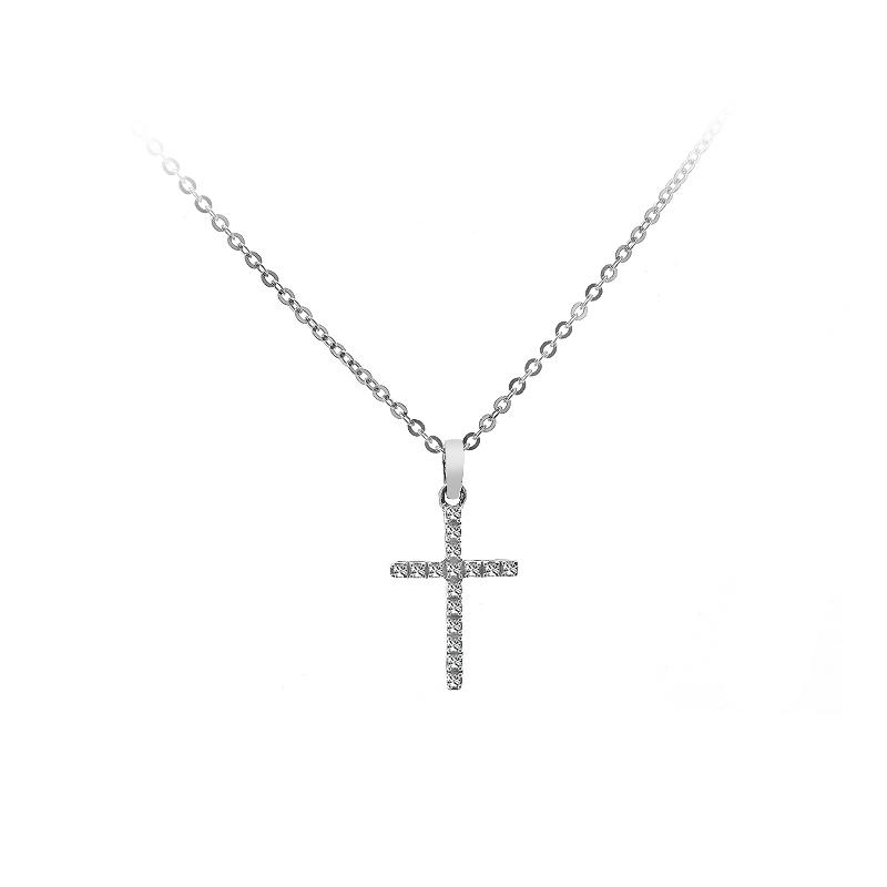 015 carat womens diamond cross pendant 14k white gold ebay