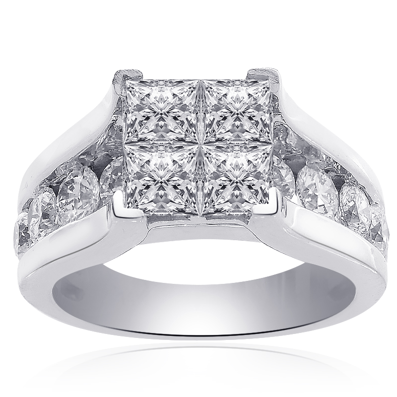 3 00 Carat F Vs2 Invisible Set Princess Cut Quad Diamond